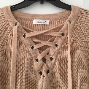 efc808bfc4 Chic Wish Sweaters - Chic Wish Lace-Up Mood Sweater